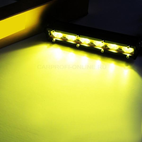 Светодиодные фары, 6 диодов, 18W, желтое стекло, 2шт