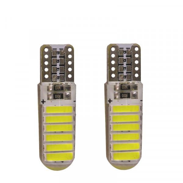 Лампы светодиодные в силиконе Т10 smd12 7020, 2шт
