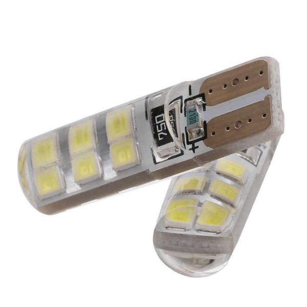 Лампы светодиодные в силиконе Т10 smd12 2835, 2шт