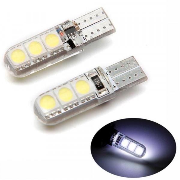 Лампы светодиодные в силиконе Т10 smd6 5050, 2шт