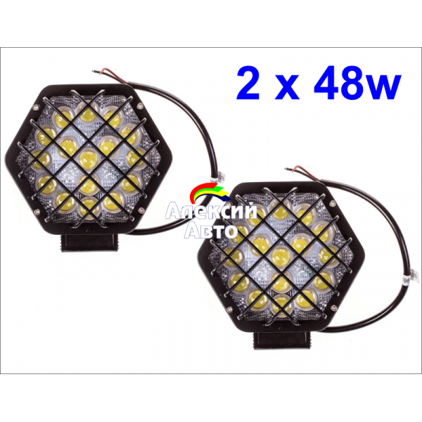 Светодиодные фары, 48W, 2шт